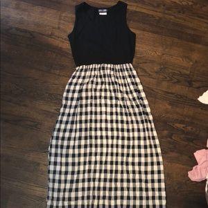 Black white buffalo plaid checkered dress medium